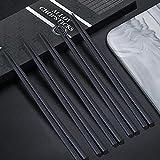 JeoPoom 5 Pares Palillos de Aleación, Restaurante Reutilizable Lavables Lujoso Palillos con Caja Hecha A Mano Negra, Set de Regalo de Palillos(24.3cm)