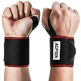 AGPTEK 2 Pcs Muñequeras Deportivas, Muñequeras Crossfit con Banda Antideslizante para Gym, Musculación, Wrist Wraps para Hombres y Mujeres