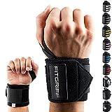 Fitgriff® Muñequeras Gym, Deportivas, Musculación, Gimnasio, Calistenia, Wrist Wraps - Mujeres y Hombres - Black